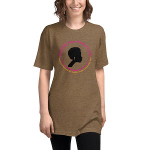 tri-blend track T-shirt women coffee