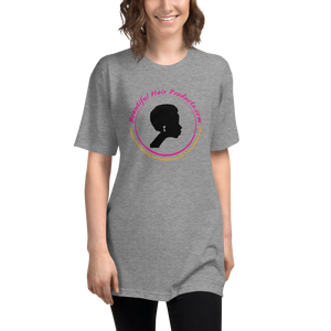 tri-blend track T-shirt women athletic grey