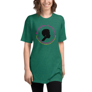tri-blend track T-shirt women evergreen