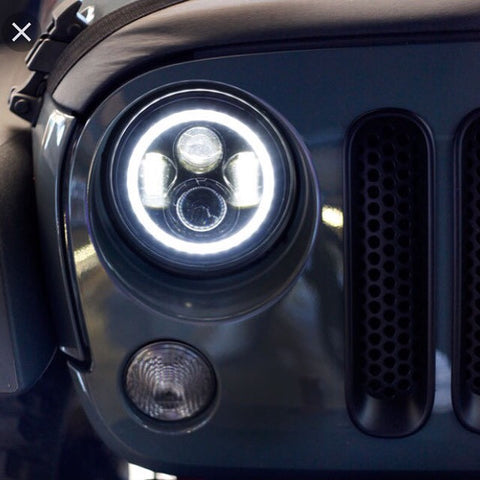 """Jeep Wrangler Top View >> Pair of 7"""" 80W LED Headlight + Halo Angel Eyes for Jeep Wrangler JK & – Offroad auto parts"""