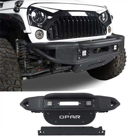 Fit Jeep Wrangler 07-17 JK Full Protection Front Bumper w/ LED Light&Winch Plate