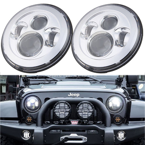 "(2) Chrome Bezel High Power 80W CREE 7"" Round LED Headlights For Jeep and more"