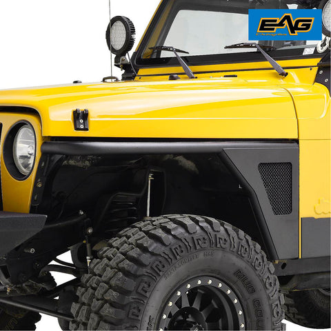 Black Textured Tube&SS Mesh Front Fender Flares for 97-06 Jeep TJ Wrangler