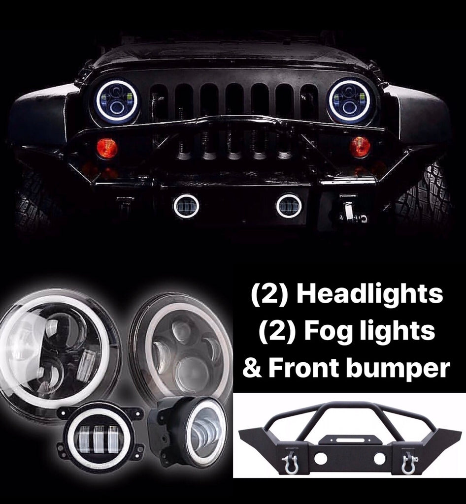 Halo Headlights Fog Lights Front Bumper Offroad Auto Parts Wiring Auxiliary Jeep