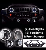 Halo headlights + fog lights + front bumper