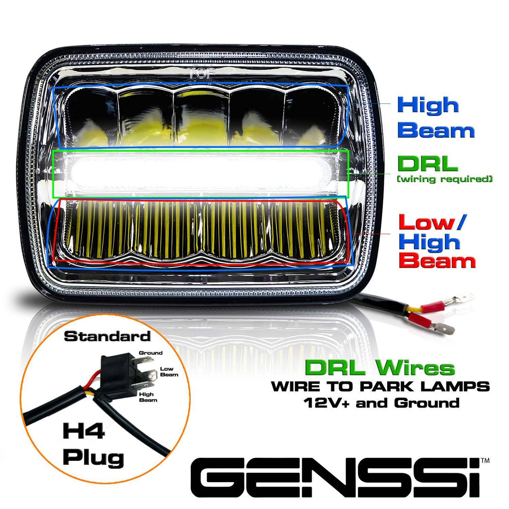 2x New Led 5 X 7 Led Headlight Replacement For Jeep Cherokee Xj
