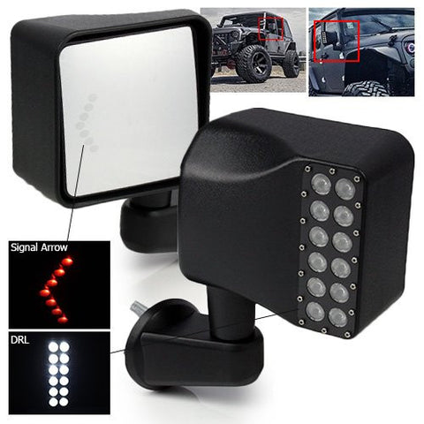 Modifystreet Manual Mirrors with LED Arrow Signal and Daytime Running Light for 2007-2017 Jeep JK Wrangler