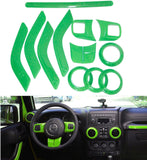 Bentolin Interior Decoration Trim Kit (Inner Door Handle Cover, Air Outlet Trim, Passenger Seat Handle Trim, Steering Wheel Trim) for Jeep Wrangler 2-door 2011-2015 - 10pcs (Redor green )
