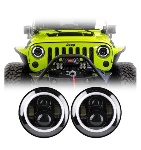 "Pair of  7"" 80W LED Headlight + Halo Angel Eyes for Jeep Wrangler JK & TJ"