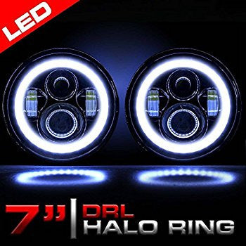 Pair Of 7 Quot 80w Led Headlight Halo Angel Eyes For Jeep