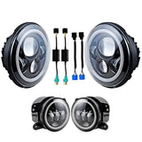 "Pair of  7"" 80W LED Headlight + Halo Angel Eyes + 2x 4 Inch 60W Cree Led DRL Driving Fog Light  for Jeep Wrangler JK"
