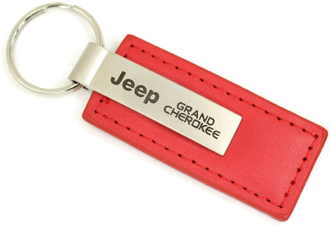 Jeep Grand Cherokee Leather Key Chain Red Rectangular Key Ring Fob
