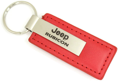 Jeep Rubicon Leather Key Chain Red Rectangular Key Ring Fob Lanyard