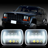 85W CREE 7''x6'' LED Headlight Hi-Lo Beam Halo DRL Bulb For Jeep XJ H6014/H6054