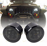 2pcs Smoke Lens Amber LED Turn Signal Lights Direct Fit 07-15 Jeep Wrangler JK