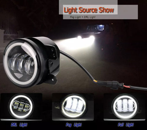 2x 4 Inch 60w Cree Led Drl Driving Fog Light With Halo