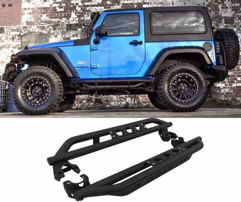 Fit For 07-17 Jeep Wrangler JK 2 Door Side Armor Bars Nerf Step running boards  Textured Black