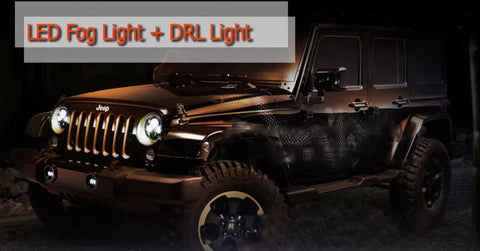 2x 4 Inch 60W Cree Led DRL Driving Fog Light With Halo Angle Eyes   For Jeep Wrangler Dodge