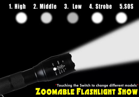 3000 lumen zoomable Cree xml T6 LED 18650 flashlight