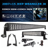 "52"" 500w + 22"" 200w LED light bar + mount brackets and wiring for jeep jk 07-17"