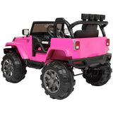 Jeep Style 12V Ride On Car Truck W/ Remote Control, 3 Speeds, Spring Suspension, LED Lights, Red