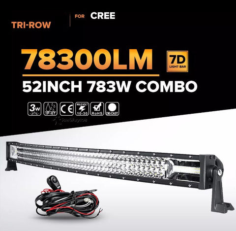 "TRI-ROW 52"" 783W curved LED light bar"