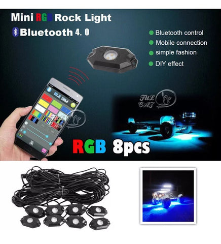 8pcs RGB LED Lights Pod Bluetooth Flashing multi color Fits jeep and other models