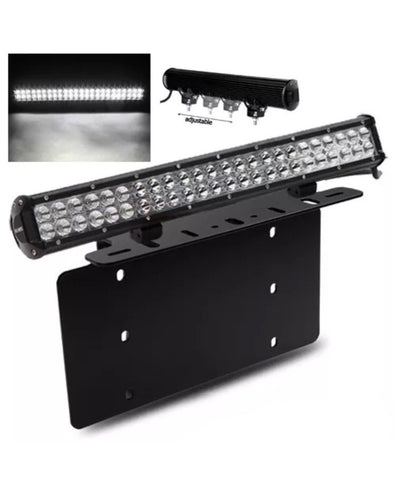 "Steel License Plate Frame Mounting Bracket + 23"" 144W LED Offroad Work Light Bar"