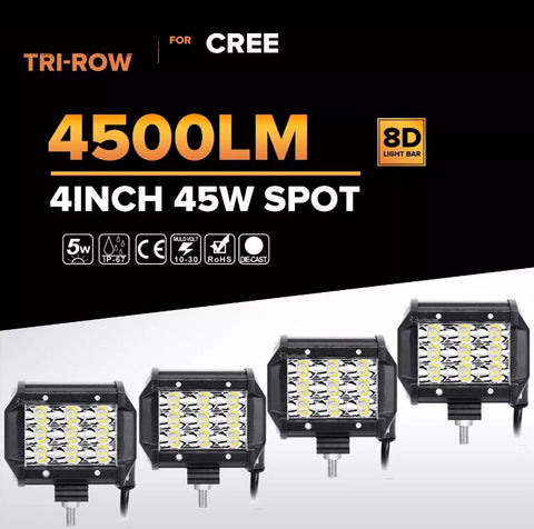 "4X TRI-ROW 45W 4"" CREE LED SPOT LIGHT"