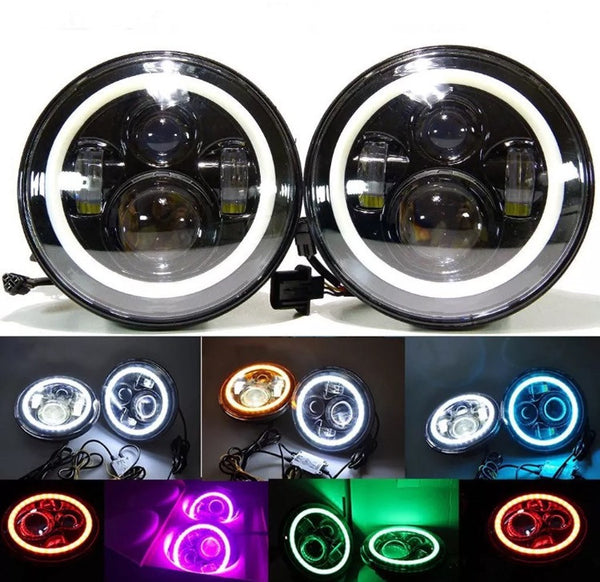 Pair (2) Bluetooth APP color changing led halo led headlights – Offroad auto parts