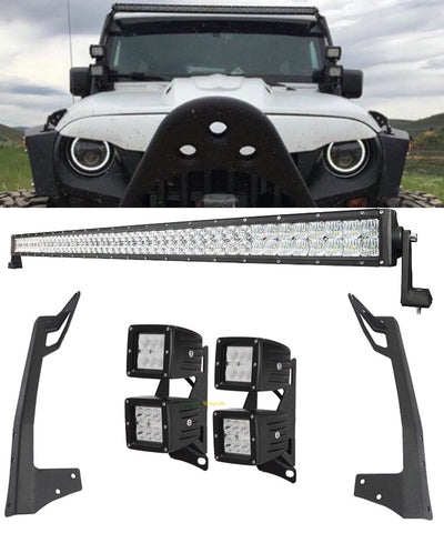 "For JK 52"" 300W - 700W light bar 4 double stack 18w led pods with all brackets and wiring"