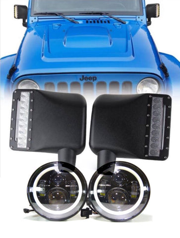 For jeep jk pair of 80w halo led headlights and pair of led mirrors