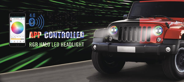2pc 7 Quot Jeep Rgb Halo Led Xkglow Headlight Kit With