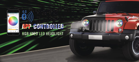 "2pc 7"" Jeep RGB Halo LED xkglow Headlight Kit with  Smartphone App-enabled Bluetooth Jeep JK TJ"