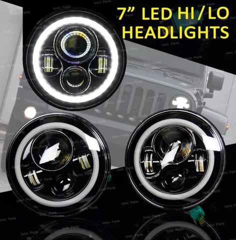 "One Pair of 7"" Inch 120W CREE LED Headlight Housing Full Angel Eyes w/ H4 H13 Adapter"