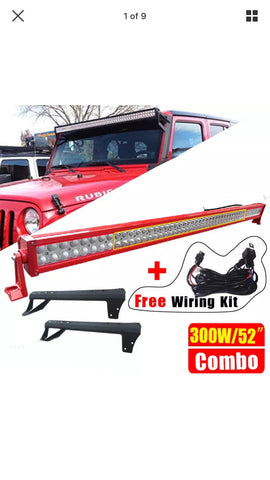 "Red Jk 52"" light bar + brackets + wiring"