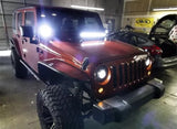 "20""/21.5"" LED Light Bar w/ On/Off switch + Front Hood Mounting Brackets for 07-18 Jeep Wrangler JK"