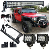 50 Inch Lightbar with Pillar Mount and 2x 4 Inch Pods + LED Halo Headlights Combo for TJ & JK (1997- 2016