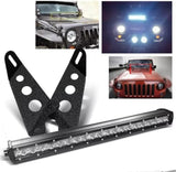 "20""/21.5"" LED Light Bar w/ On/Off switch + Front Hood Mounting Brackets for 07-15 Jeep Wrangler JK"