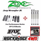 "Zone Jeep Wrangler JK 07-17 4 door 3"" Suspension Lift Kit W/ Fox Performance 2.0 (Fits: Jeep)"