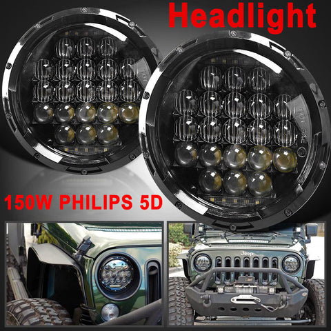 5D 2X7Inch 150W Hi/Lo PHILIPS Round Headlight LED For JEEP Wrangler JK CJ