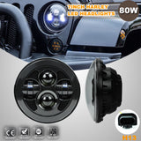 2x 7'' Inch Black Round LED Projector Headlights for 07-17 Jeep Wrangler JK H13