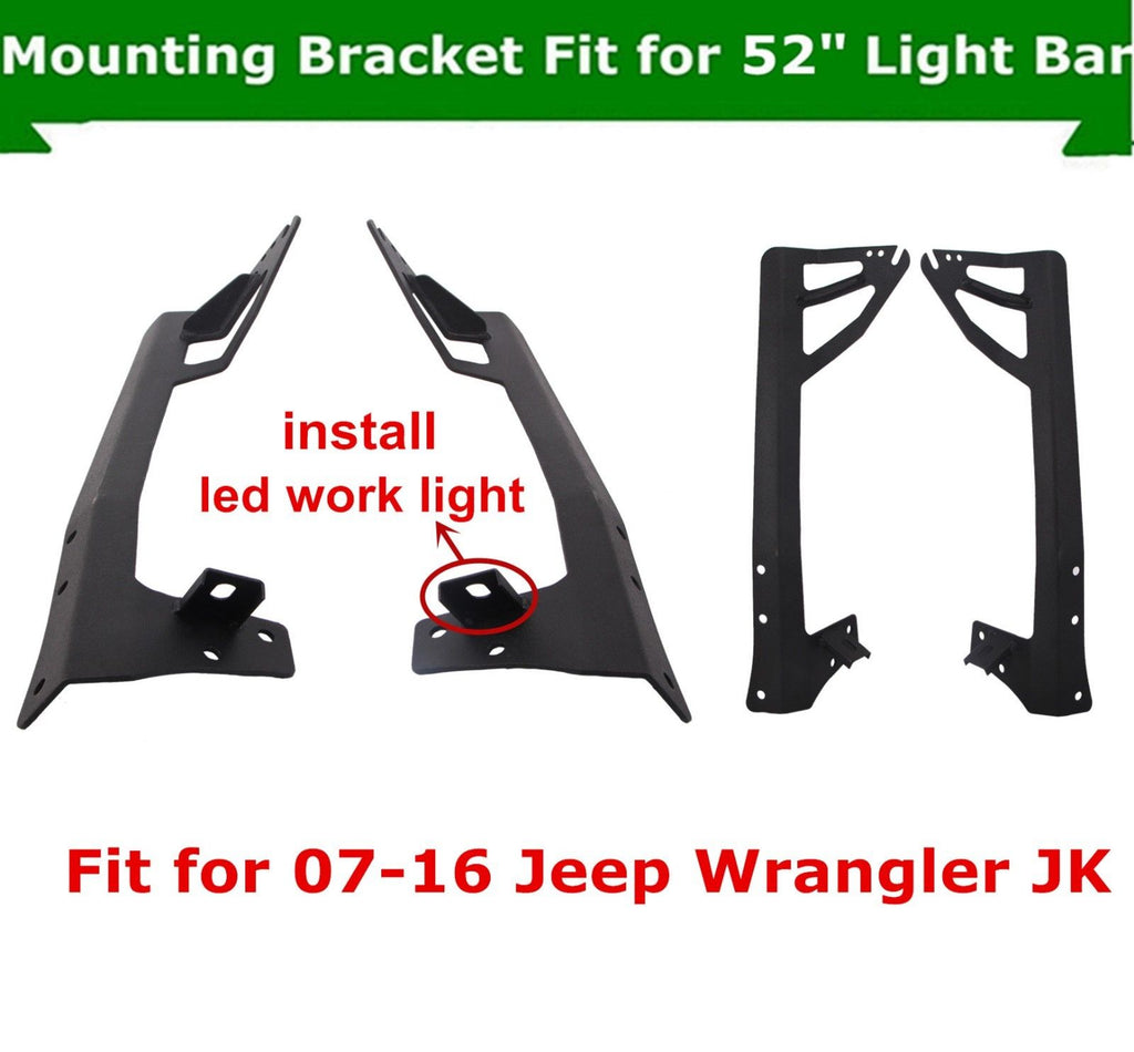 07 18 Jeep Wrangler Jk 52 Led 300w Light Bar Windshield Upper Mount Wiring Brackets