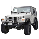 Textured Front Bumper W/LED Lights & Winch Plate For 87-06 Jeep Wrangler YJ TJ