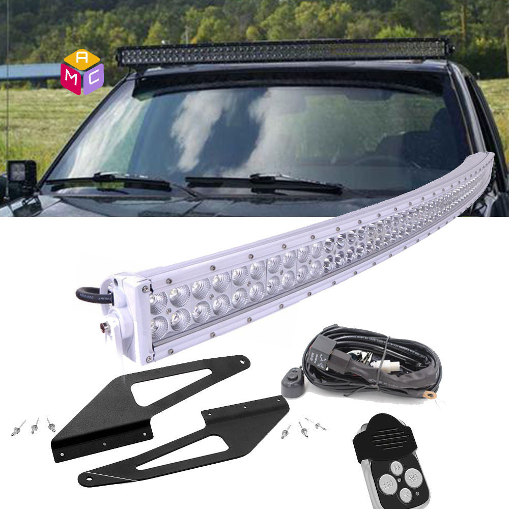 50in Curved LED Light Bar Upper Windshield Mounts 93 98 Jeep Grand Cherokee ZJ