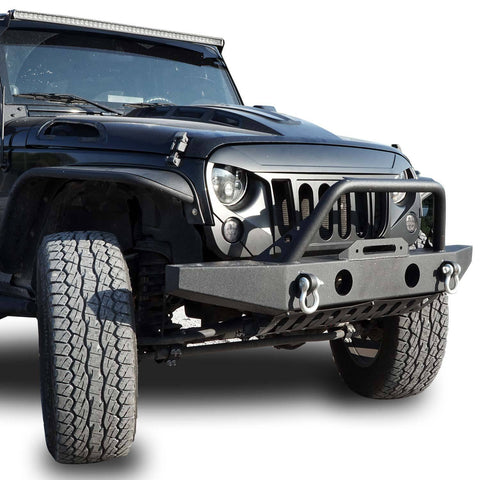 MONSTER Front Matte Black Grille Grill For Jeep Wrangler JK 2007-2018