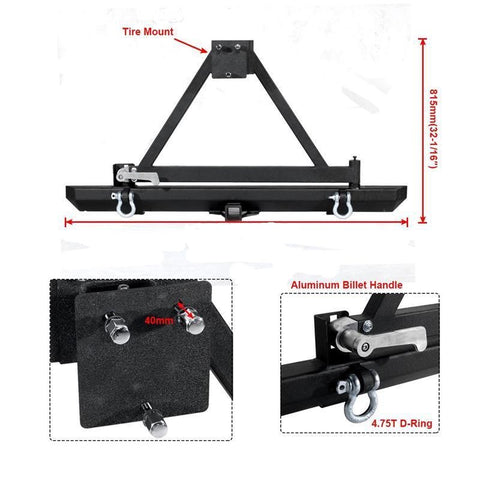 Rock Crawler Rear Bumper with Tire Carrier Swing for 86-96 Jeep Wrangler YJ TJ
