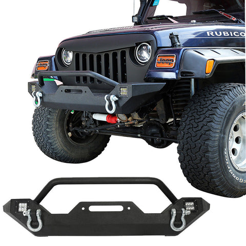 Black Steel Front Bumper with LED Lights & D-rings for 87-06 Jeep Wrangler YJ TJ