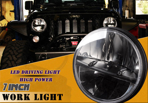 2 Pcs 7 inch 80W Round HI/ Lo Beam LED Headlights for Jeep Wrangler 97-16 JK TJ