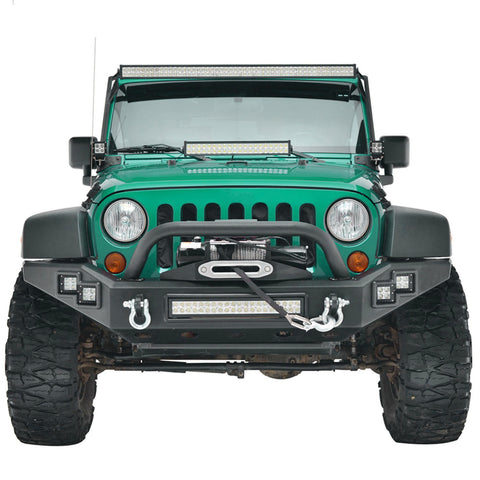 For 07-17 Jeep Wrangler JK Full Width Front Bumper W/Winch Plate & 5 LED Light